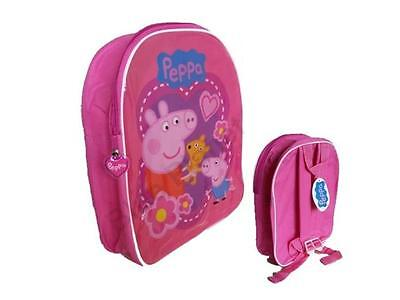 NEW Girls Kids Offical Peppa Pig & George Pink School Bag Rucksack Backpack