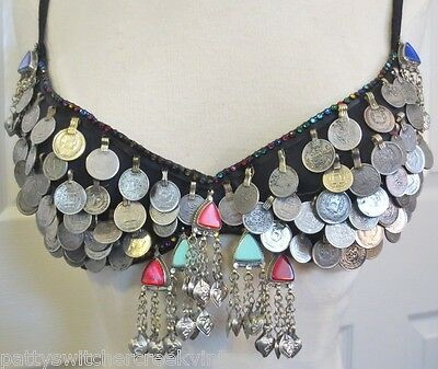 Vintage BELLY DANCE Professional Costume COIN BRA W/Embossed Heart Dangles-SZ 34