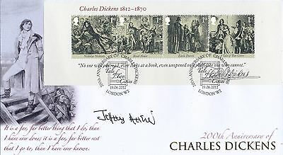 Buckingham Cover Charles Dickens miniature sheet signed Jeffery Archer