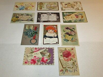 11 Antique Early 1900's Easter Valentines Postcards Embossed German Open Books