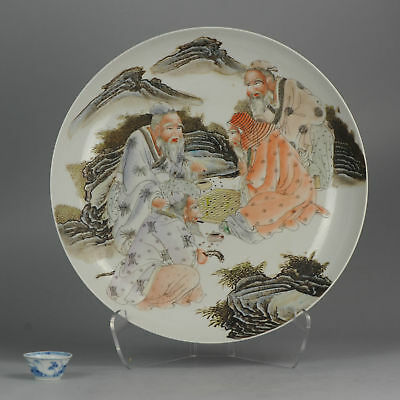Large 44CM - 20C Chinese Porcelain Plate Wise Men Marked Antique