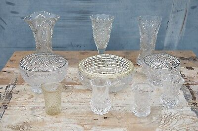 10 Vintage Cut Glass Small Medium Vases 6-16cm Posy Bud Wedding Florist Job Lot