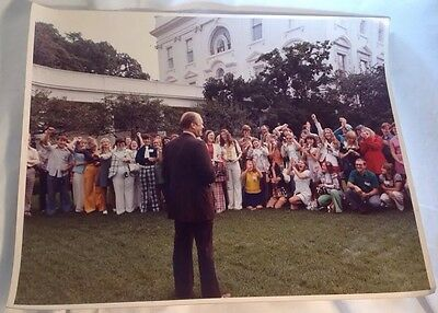Official White House Photograph President Gerald Ford Speaking White House Lawn