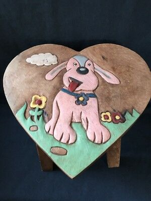 Hand painted & carved wooden child's stool~ Heart Shaped Dog Design (ref P257)