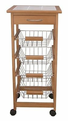 4 Tier 1 Drawer New Ceramic Tiled Top Wooden Kitchen Trolley-Honey Colour