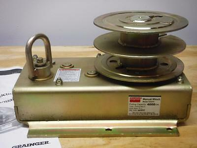 New DAYTON Manual Hand Winch 4000lb Spur Gear with Brake FAST SHIPPING