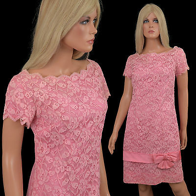 Vtg 60s WIGGLE DRESS Shocking Pink CHANTILLY LACE Bombshell Hourglass Cocktail
