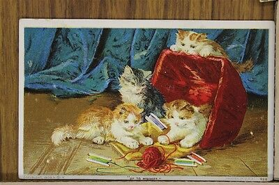 ANTIQUE 1910's POSTCARD Cats Kittens Feline Playing Yarn Basket Colored Posted