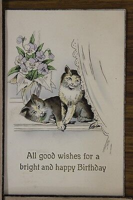 ANTIQUE 1910's POSTCARD Cats Kittens Feline Good Wishes Happy Birthday Posted