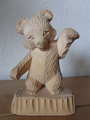 Fab Rare Vintage 1980 Mishka Moscow Russian Bear Hand Carved Wooden Ornament