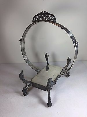 Antique Victorian Wilcox Silverplate 4445 Basket Frame w/ 4 Rams Head Supports