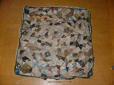 Primitive Sampler Patchwork Tapestry Cushion Cover Dated 1879 Distressed State