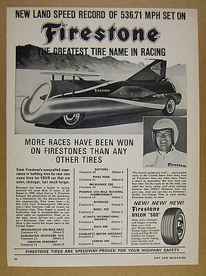 1965 Art Arfons Green Monster Land Speed Record Car photo Firestone vintage Ad