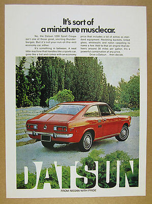 1972 Datsun 1200 Sport Coupe red car photo vintage print Ad
