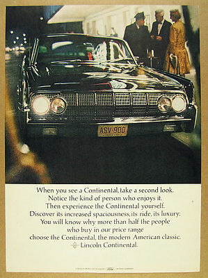 1964 Lincoln Continental front end grille photo vintage print Ad