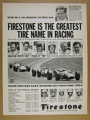 1965 Firestone Tires Sweeps First 7 Places at Indy 500 race vintage print Ad
