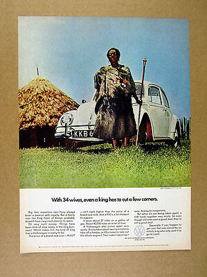 1966 VW Volkswagen Beetle white bug photo 'With 34 Wives' vintage print Ad