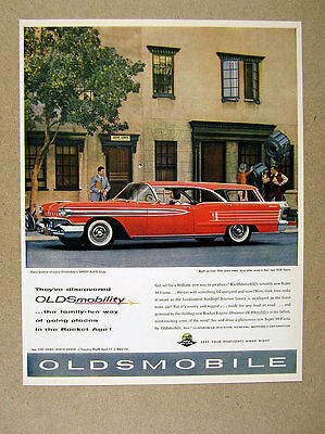 1958 Jerry Lewis at Office photo Oldsmobile Super 88 Fiesta red Station Wagon Ad