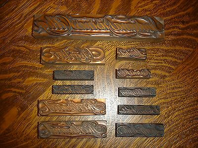 Lot of 11 Copper on Wood Printing Blocks Business & Secretarial Related Words