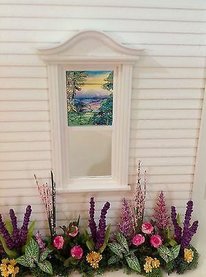 Mountain View Dollhouse Miniature Victorian Style Stained Glass Window film