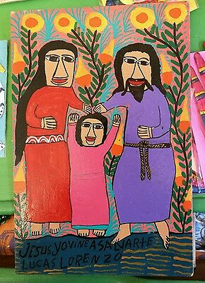 Authentic Mexican Folk Art Retablo Sacred Family Infant Jesus Religious  Lorenzo