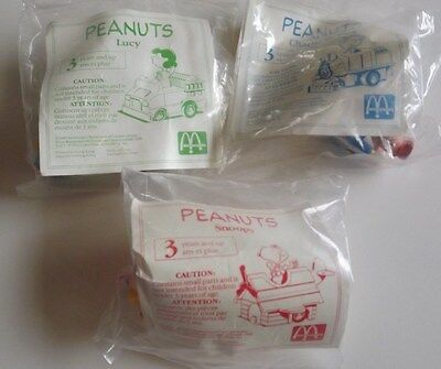 """McDonald's Collectible """"Peanuts"""" Happy Meal Toys Vintage 1989 New"""