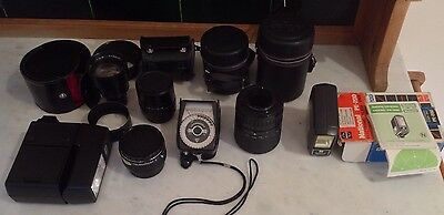Vintage Camera Accessories Spares RepLenses/light Meter/ Flash Guns & Cases