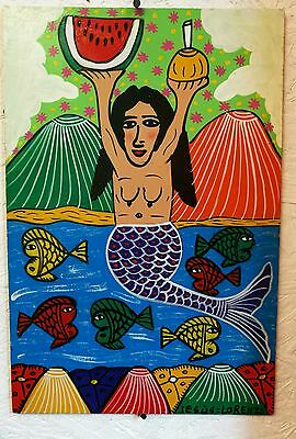 Authentic Mexican Folk Art Retablo Las Sirena Mermaid Naive Art by Jesus Lorenzo