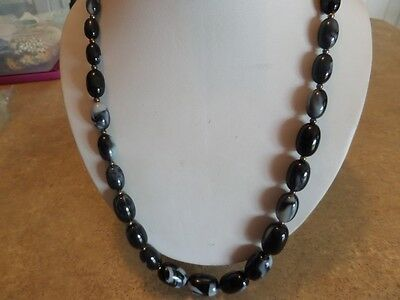 Vintage Black and Gray Marbled Plastic Necklace