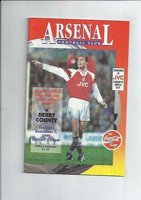 Arsenal v Derby County Coca Cola Cup Replay Football Programme 1992/93