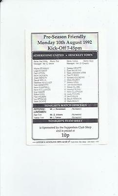 Atherstone United v Hinckley Town Friendly Football Programme 1992/93