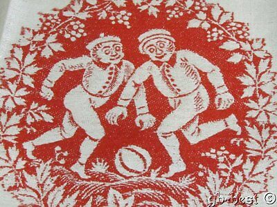 2 Antique Victorian RUGBY Sports Players Pictorial Linen Turkey Red Towels