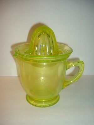 2 pc Vaseline Glass Pitcher and Reamer