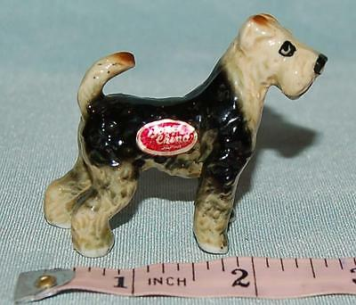 Tiny Vintage Fox Terrier Dog Figurine 6 x 6cm Bone China Japan Dolls House c1960