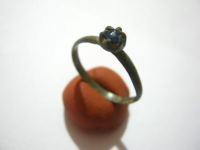 Medieval Dark Age Ring with Blue Gem Decorated Bezel