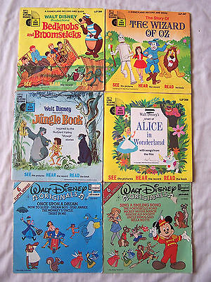"Collection Of Walt Disney Childrens 7"" Records & Booklets X 6"
