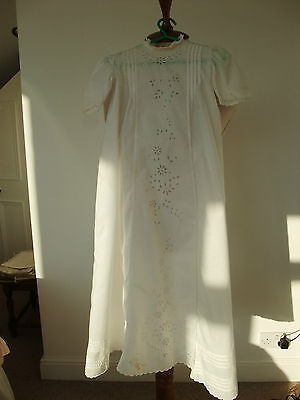 Victorian Apron Front Embroidered Long Gown