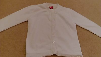 Girls White Button Up L/S Cardigan Age 1- 1-5 Years 18-24 Months excellent