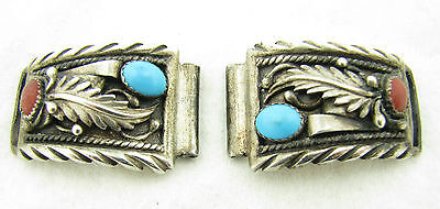 Navajo Sterling Turquoise Coral Wristwatch Watch End Lug Tips Pieces -Signed-