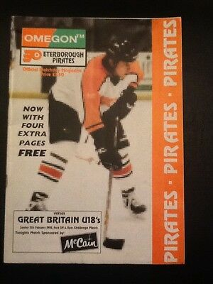 Peterborough Pirates vs Great Britain U18s Ice Hockey programme 1998