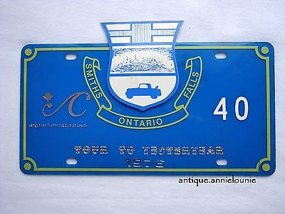 *1976 TOUR to YESTERYEAR Plastic Vintage License Plate SMITH FALLS # 40