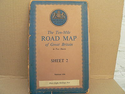 Ordnance Survey Ten Mile Road Map Of Great Britain Sheet Two 1956