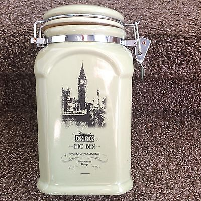Used Big Ben England Britain City of London House Of Parliament Canister Jar Tea