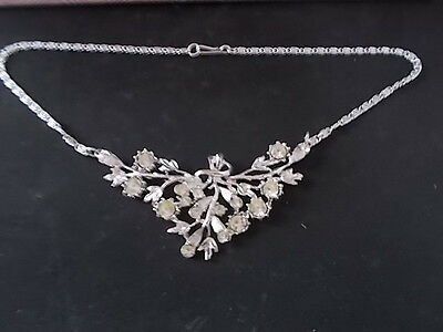 """Vintage 1960s 16"""" Necklace with Clear Glass Stones Costume Jewellery"""