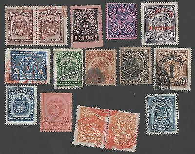 Colombia. Accumulation of 15 early stamps. Cancelled
