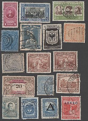 Colombia. Accumulation of 17 early and mid-period stamps. Cancelled