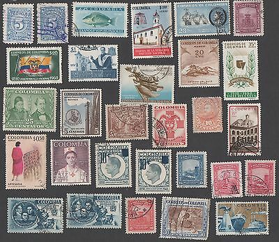 Colombia. Accumulation of 29 early and mid-period stamps. Cancelled