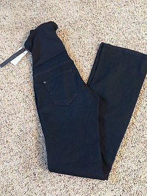 Womens Maternity Over The Belly Band Shadow Blue Bootcut Jeans Sz 27