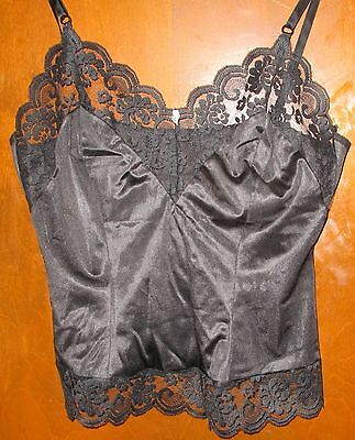 Vintage JCPenney Fantasia semi-sheer black nylon camisole w/ lace trim sz 36 EUC