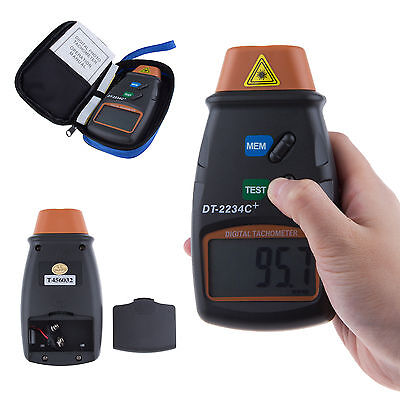 Digital Laser Photo Tachometer Non Contact RPM Tach Meter Motor Speed Gauge+Bag
